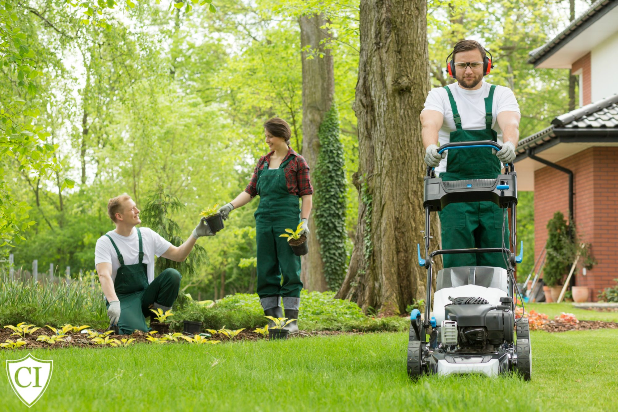 landscapers working on lawn and garden