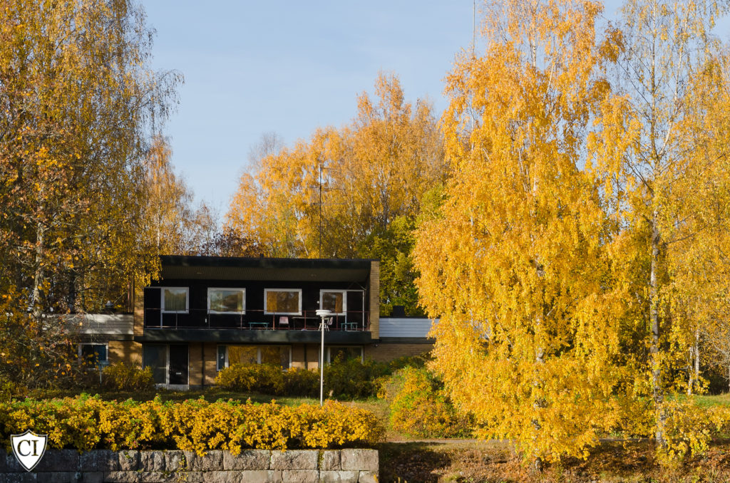 wooden house on the shore among the autumn trees